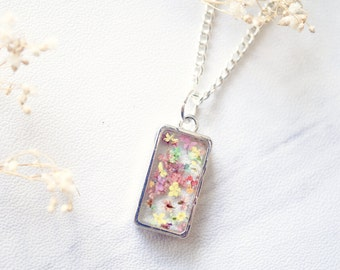 Real Dried Flowers in Resin Necklace in Pink Pastel Mix