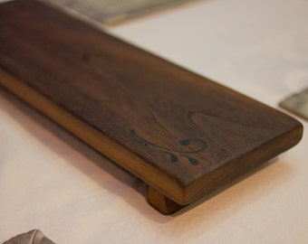 Walnut cheese board serving platter with burnished details