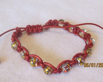 0100-Dark Red Leather Bracelet with beads