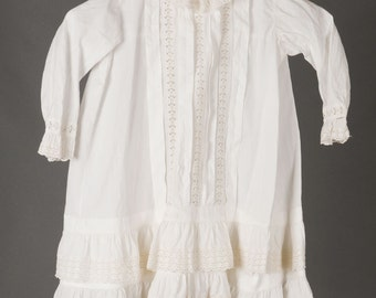 Vintage Victorian, Edwardian, little girl's 2T, white cotton, embroidered, tucked, dress