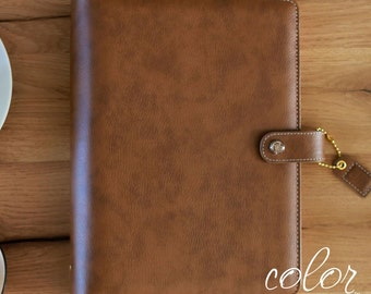A5 PLANNER KIT, Walnut Brown Personal Notebook Binder With Kit, Monthly Planner, Weekly Planner, Tab Pages, Websters Pages Color Crush