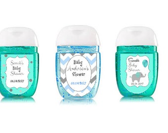 Blue, Gray U0026 White Customized Hand Sanitizer Labels For Baby Shower Favors    Set Of