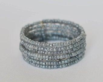Ladies Bracelet, Wrap Bracelet, Eight times Wrap, Memory Wire Bangle, Jewellery, Bracelet, Beaded Memory Wire, Jewellery