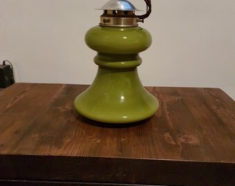 Funky 1960s pale green glass pendant light: rewired