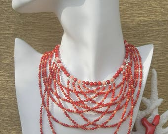 Luxurious Natural Bamboo Red and Pink Coral Necklace, Red Necklace, Coral Necklace, Gemstones Becklace, Coral Jewelry, Luxurious