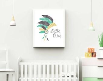 Boho Nursery 8x10 Printable Little Chief - Gray Teal Nursery Decor - Boho Printable
