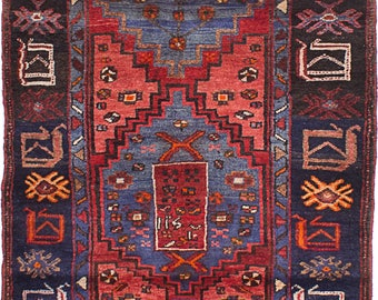 """3'5"""" x 6'11"""" Vintage Persian1950's Tribal   Mousel - Rug"""