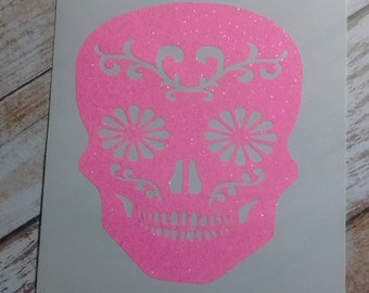 Skull Decal/Skull  Monogram/ Monogram/Decal/Vinyl Decal/Sugar Skull Decal/Initial Decal/Sugar Skull Monogram/Sugar Skull/HTV Decal