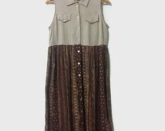 1990s Linen + Cotton Boho Button-up Maxi Dress S - L