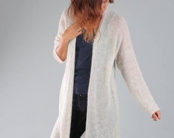 Knitted cardigan / Oversized cardigan / Alpaca wool sweater / Mohair cardigan / Light cardigan / Long cardigan / alpaca cardigan