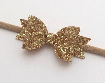 Gold Baby Headband, Mini Gold Bow Nylon , Christening Headband, Wedding Glitter Bow, Handmade Bow.