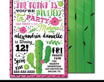 "Party Like There's No Mañana Fiesta Digital Printable Girls Mexican Cactus Floral Watercolor Birthday Party 5x7"" Invitation PERSONALIZED"