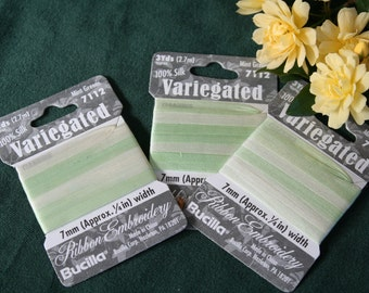 Bucilla Silk Ribbon Embroidery, Variegated  Mint Greens 7112, 3-pack of 3 yards each