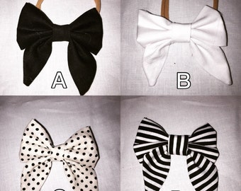 Black and white fabric bows