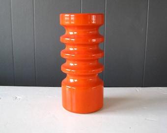 Vintage Dümler & Breiden Tall Hooped Candleholder, Glossy Orange Glaze, Mid Century Modern German Ceramic Design, Collectors Piece