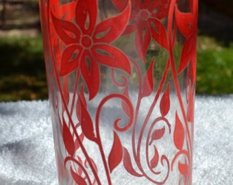 Vintage Glass Tumbler with Red Flower Motif