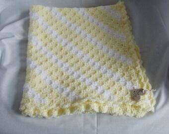 Hand Crafted Lemon/White Diagonal Stripe Crochet Baby Blanket