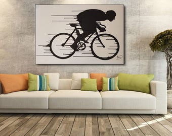 Bicycle Painting - 150 , Original Acrylic painting on canvas, By Tomer Sharabani
