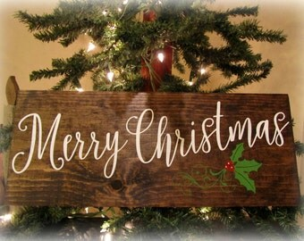 Merry Christmas Wood Sign. Rustic Painted Christmas Sign.