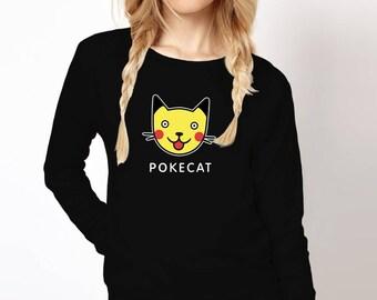 Pokemon Sweatshirt, Pokemon Sweater,  Pokemon Outfit, Pikachu Shirt, Popular gift, Pokemon, Pokemon cat, Cotton, Cat Shirt, Pikachu Costume
