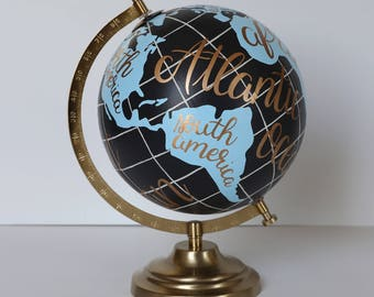 """Ready to Ship – Hand Painted Globe – Labeled Oceans & Continents – Boho Chic, Travel, Adventure, Home/Office Decor, Gift – 8"""" Diameter"""