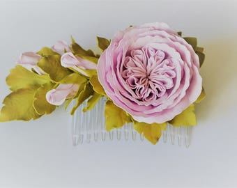 Flowers girl hair comb Pink roses hair comb Wedding hair flower comb Bridal flower Pink flower Hair comb flowers Hair flowers roses