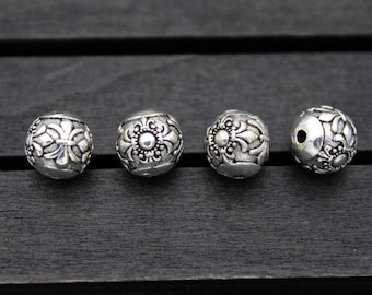 10mm Sterling Silver Cross Bead,Sterling Silver Cross spacer bead,round spacer bead,Sterling Silver beads spacer