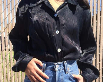 Vintage black long sleeve button up shirt / blouse, size small s