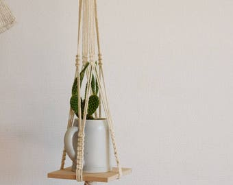 Suspension for macramé plant with his Board of medium / Macrame hanging plant with medium