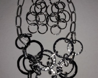 Modern Hammered Silver Plated Vintage Necklace and Pierced Earrings