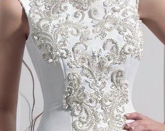 Satin Beaded A-line Wedding Dress with Chapel Train