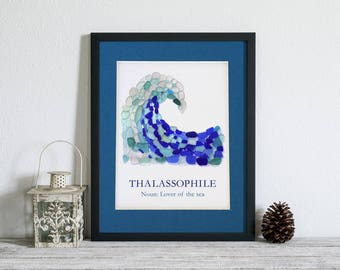 """Sea Glass Wave """"Thalassophile: Lover of the Sea"""" Matted Print - Seaglass Mosaic, 11x14"""" mat with 8x10"""" print"""