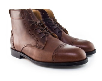 Men Handmade Balmoral Ankle Boots in Brown Leather Brogue - Chocolate Brown Leather