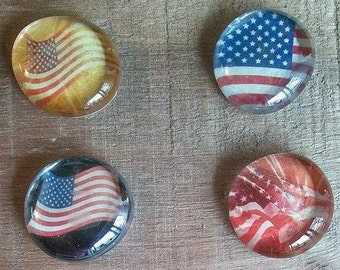 Flag Magnets - Old Glory Magnets - 4th of July Magnets - Patriotic Magnets - God Bless the USA Magnets - Gift Giving