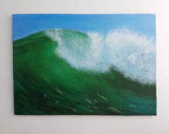 Ocean Waves Painting Seascape Landscape Beach Seafoam Blue Green