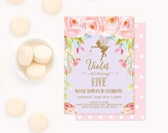 Fairy Invitation, Fairy Birthday Party Invitation, Garden Party Floral, Floral Bohemian invitation, boho chic, Woodland Fairy, PixiePrincess