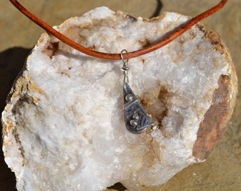 Precious Metal Clay and Leather necklace