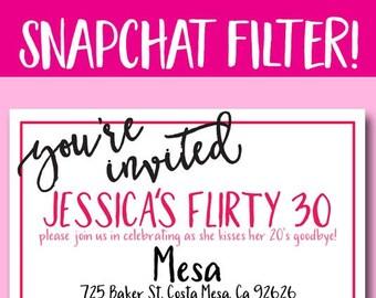 CUSTOM SNAPCHAT GEOFILTER, Flirty Thirty, Bachelorette Party, Bachelorette Snapchat, Gold and Pink,Birthday Snapchat, Snapchat Filter, Party