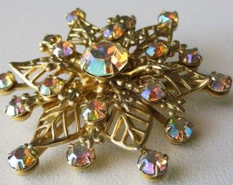 Vintage Rhinestone Brooch Vintage Costume Jewelry Aurora Borealis Rhinestone Pin