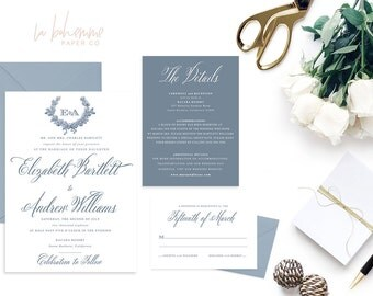 Printable Wedding Invitation Suite / Calligraphy / Wedding Invite Set -  The Elizabeth Monogram Suite