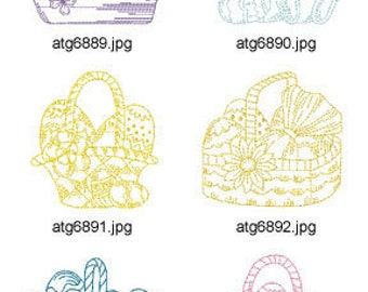 One-Color-Pastel-Easter-Basket  ( 10 Machine Embroidery Designs from ATW ) XYZ17C