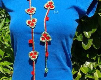 Crochet Flower Necklace, Crochet Flower red-green Necklace,Crochet neck accessory