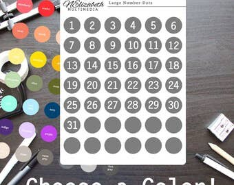 Choose a Color - Large Number Dots - Bullet Journal Stickers