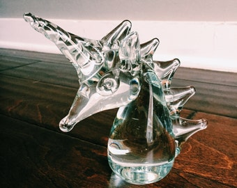 Vintage Glass Unicorn Paperweight / Unicorn Figurine