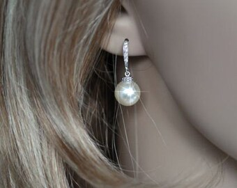 Rhodium, Yellow or Rose Gold Handmade Cubic Zirconia CZ and Swarovski Pearl Dangle Bridal Earrings, Bridal, Wedding (Pearl-344)