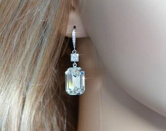 Handmade Swarovski Clear Emerald Cut Crystal & CZ Dangle Bridal Earrings, Bridal, Wedding (Sparkle-2659)