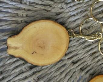 Keyring, handmade with Beech tree branch slice