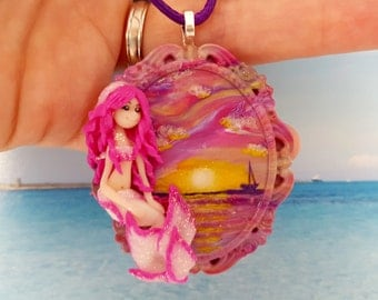 Necklace with pink and white siren on sunset on the sea in fimo-White and pink polymer clay mermaid and sunset