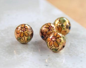 10 Yellow and Gold Vintage Acrylic Sunflower Beads.  10mm Vintage Japanese Beads with Orange Floral Decoration over Acrylic.  New Old Stock.
