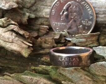 Silver Kansas quarter coin ring
